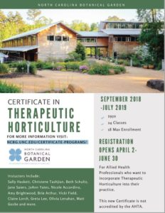 Flyer for Certificate in Therapeutic Horticulture instruction