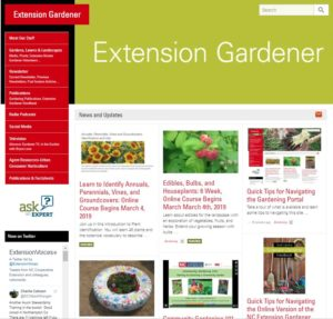 Landing Page of the Extension Gardener Portal.