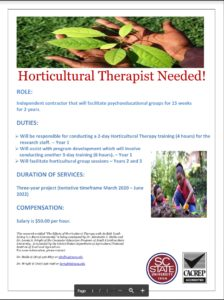 Cover photo for Job Opportunity for Horticultural Therapist